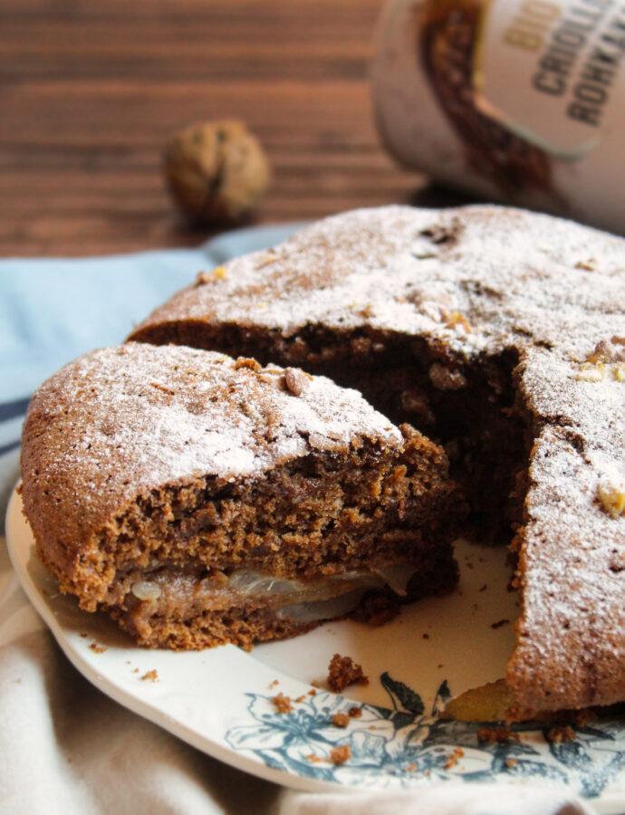 Torta pere, cioccolato e noci